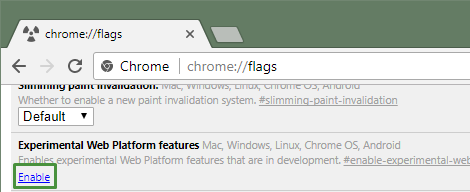 Enabling Experimental Web Platform Features in Chrome